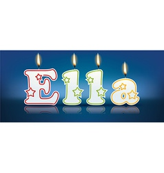 Ella written with burning candles vector