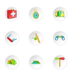 Encampment icons set cartoon style vector image