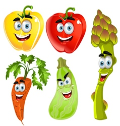 Funny cartoon cute vegetables peppers asparagus vector
