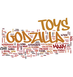 Godzilla toys text background word cloud concept vector