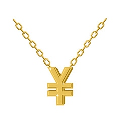 Gold Yen necklace Decoration chain Expensive vector image vector image