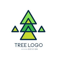 green tree logo original design green geometric vector image