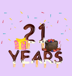 happy birthday number 21 greeting card vector image
