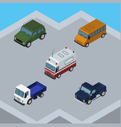 Isometric transport set of suv autobus armored vector