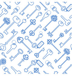 Key seamless pattern in blue outline vector