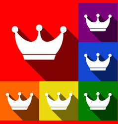 King crown sign set of icons with flat vector