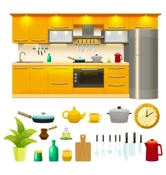 Kitchen design icon set vector