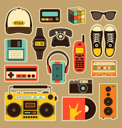 Old style equipments accessories and vector