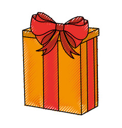 Scribble christmas gift cartoon vector