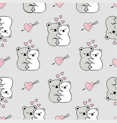 Seamless pattern with cute animals and hearts vector