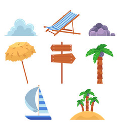 set of flat style summer vacation elements icons vector image