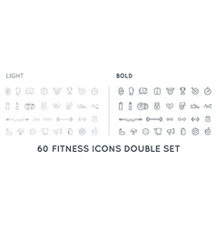 Set of thin and bold fitness aerobics gym elements vector