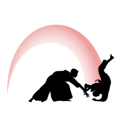 silhouette of aikido masters leading the fight vector image