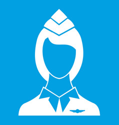 stewardess icon white vector image