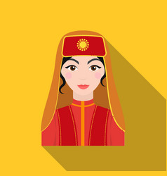 Turkish woman icon in flate style isolated on vector