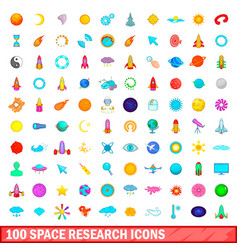 100 space research icons set cartoon style vector