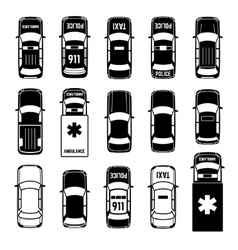 Car top view transportation black icons vector