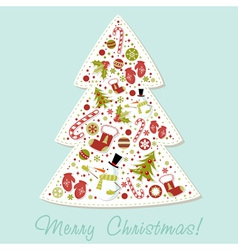 Stylized Christmas tree with xmas toys vector image
