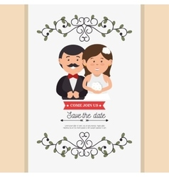 Cute cartoon bride groom weddign card design vector