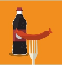 Soda and sausage of fast food concept vector