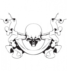 Skull and ribbon vector
