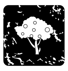 Tall fruit tree icon grunge style vector