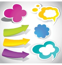 Colorful speech bubbles and arrows for your text vector
