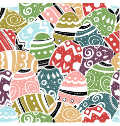Seamless easter eggs pattern colorful background vector