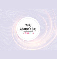 Happy womans day greeting card design with light vector