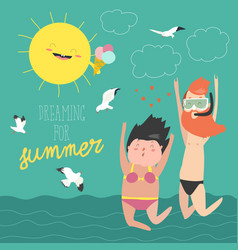 Fun summer vacation couple of young people man vector