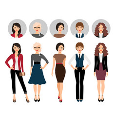 Young woman in different style clothes vector