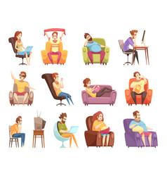 sedentary lifestyle retro cartoon icons set vector image