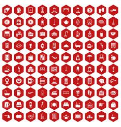 100 inn icons hexagon red vector