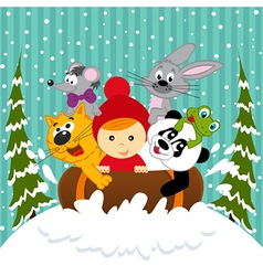 Boy and animals together sledging vector