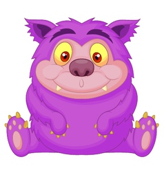 Cute purple monster cartoon vector image