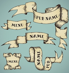 Set of parchment ribbons vector