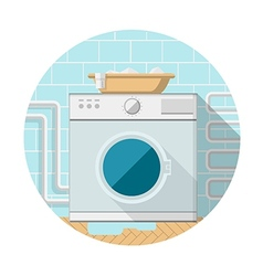 Flat icon of washing machine in bathroom vector
