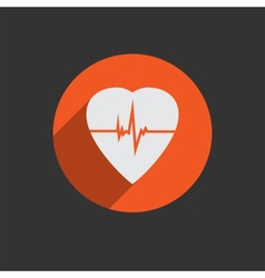 Defibrillator heart icon isolated on red vector