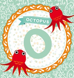 Abc animals o is octopus childrens english vector