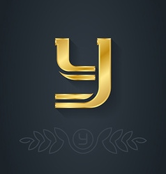 Elegant gold font letter y template for company vector