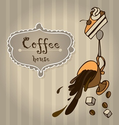 Cup of coffee with cake and coffee beans vector