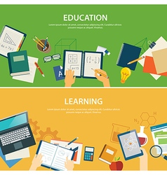 Education and learning banner flat design template vector