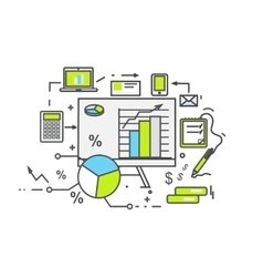 Data analysis icon flat design vector