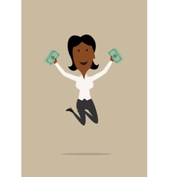 Happy businesswoman jumping with money vector