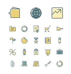 Icons thin blue business money vector