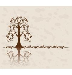 openwork tree on vintage background vector image