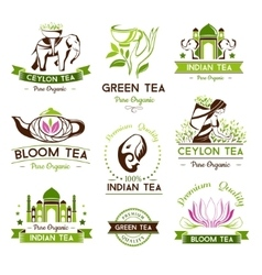 Green ceylon and bloom tea emblems vector