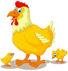 Funny hen cartoon with her baby chicken vector
