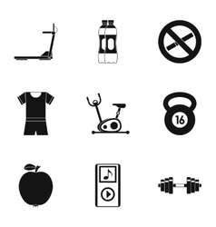 Active lifestyle icons set simple style vector