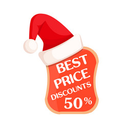 Best price with percent sign inside and santa hat vector
